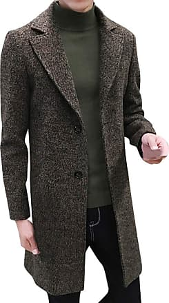 NPRADLA Men Fashion Casual Daily Formal Slim Single Breasted Figuring Overcoat Long Wool Solid Button Turn-Down Collar Jacket Outwear Plus Green
