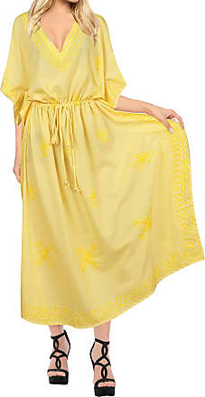La Leela Women Long Kaftan Rayon Solid Robe Caftans Free Size Maxi Dress Embroidered Ladies Night Beach Cover up Yellow_P874 [OSFM] UK: 16(L)-26(2XL)