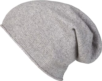 Zwillingsherz Slouch 100% Cashmere Beanie Knit hat for Girls/Boys - Beanie - Unisex - One Size fits All - Warm and Soft in Summer, Fall and Winter (Light Gray)