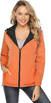 Abollria Rain Jacket Women Waterproof with Hood Lightweight Active Outdoor Raincoat Windbreaker Black and Orange