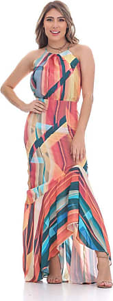 Clara Arruda Vestido Clara Arruda Longo Barra Babado 50414 - M - Multicolorido