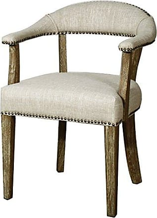 New Pacific Direct Bernadette Chair,Distressed Brown Legs,Rice Beige,Fully Assembled
