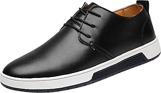 Daytwork Mens Casual Oxford Shoes - Moccasins Business Fashion Dress Lace Up Work Formal Breathable Soft Office Classic Walking Shoes UK Size 5-10 Black