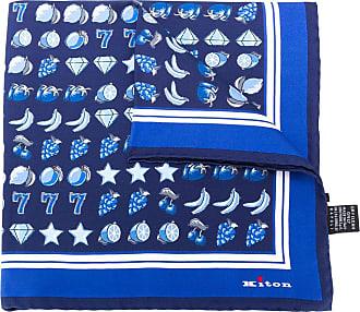 Kiton Lenço de bolso com estampa - Azul