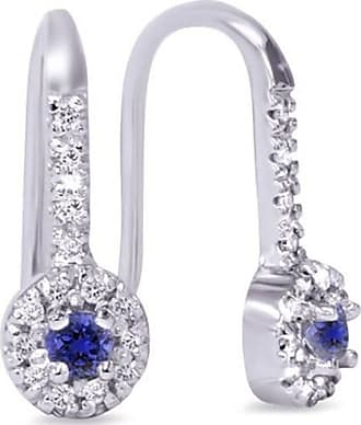 Pompeii3 30CT Blue Sapphire & Diamond Drop Earrings 10K White Gold 1/2 Tall