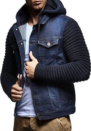 LEIF NELSON Mens Denim Jacket Hoodie LN-5240 Blue XX-Large