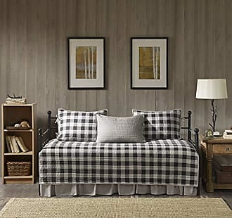 Woolrich Buffalo Check Daybed Size Quilt Bedding Set - Gray, Checker Plaid - 5 Piece Bedding Quilt Coverlets - 100% Cotton Bed Quilts Quilted Coverlet
