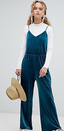 Weekday velvet cami jumpsuit in petrol blue