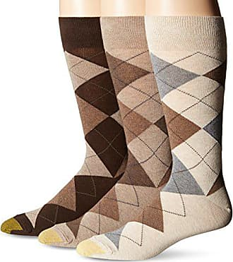 Gold Toe Mens 3-Pack Carlyle Argyle Crew Sock, Taupe Mix, Shoe Size: 6-12.5