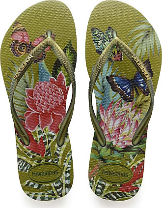 Havaianas Womens Slim Tropical Flip Flops, CAMO Green, 2/3 UK 3/4 EU