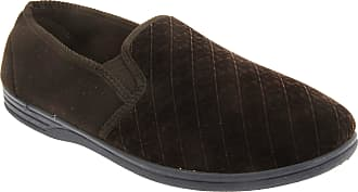 Zedzzz Mens Kevin Velour Twin Gusset Slippers (14 UK) (Brown)