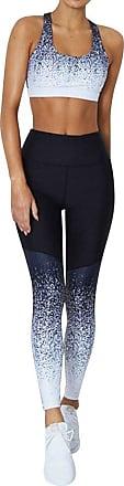 Dresswel OUNAR Women Crop Top High Waist Leggings Gradient Print Yoga Set Gym Fitness Tracksuit (XL, Top+Pant)