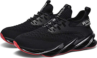 LanFengeu Men Running Shoes Mesh Breathable Low Top Casual Trainers Outdoor Light Walking Shock Absorbing Non Slip Gym Sneakers Black