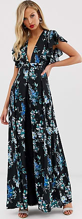 Asos maxi dress with godet lace inserts in black based floral print-Multi