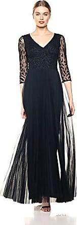 Adrianna Papell Womens Three Quarter Sleeve Pleated Dress, Midnight, 8