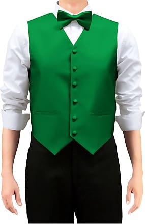 Retreez Mens Solid Color Woven Mens Suit Waistcoat, Dress Waistcoat Set with Matching Tie and Pre-Tied Bow Tie, 3 Pieces Gift Set as a, Birthday Gift - Green,