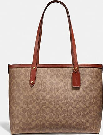 Coach Central Tote With Zip In Signature Canvas in Beige/Brown