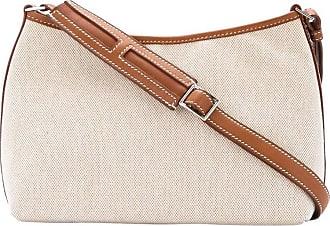 3368dac9c7a1 Hermès Hermes Tan Canvas Cognac Leather Trim Top Handle Satchel Shoulder Bag  ...