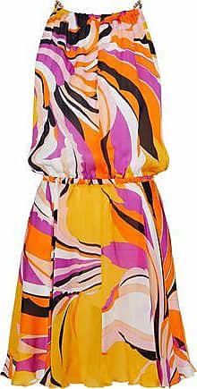 Emilio Pucci Emilio Pucci Woman Tie-back Printed Silk Crepe De Chine Mini Dress Orange Size 46