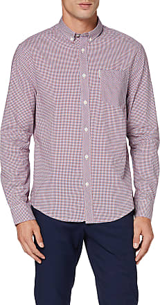Ben Sherman Mens Mini House Gingham Casual Shirt, Red, Large (Manufacturer Size: L)