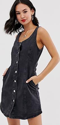 Miss Selfridge Vestito di jeans nero con bottoni