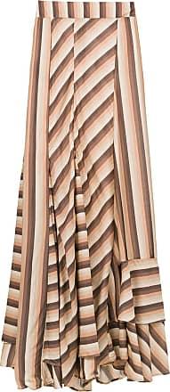 Amir Slama striped long skirt - Brown