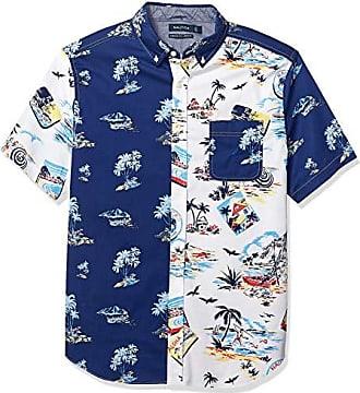 Nautica Mens Classic Fit Short Sleeve Aloha Print Button Down Shirt, Bright White, XX-Large