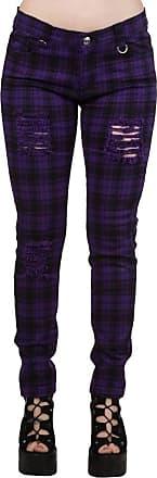 Banned Womens Purple Ripped Tartan Plaid Check Emo Punk Skinny Jeans Pants Trousers - (M / 30 / UK 12)
