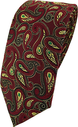TigerTie Modische TigerTie Designer tie necktie in bordeaux gold green black Paisley patterned