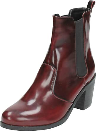 Spot On Ladies Spot On PU Pull On Short Boots F50351 Burgundy Size 6
