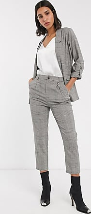 Stradivarius chain detail trousers in check-Multi