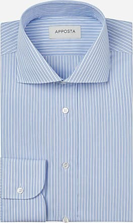 Apposta Shirt stripes light blue 100% pure cotton plain, collar style high spread collar with two buttons