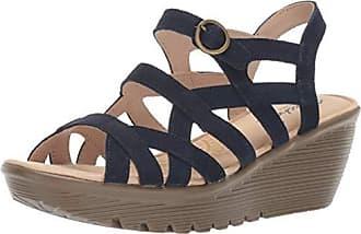 88641985e7 Skechers Womens Parallel-Three Strap Buckle Slingback Wedge Sandal, Navy,  7.5 M US