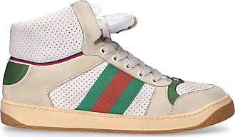 db70008c9bb52 Gucci Sneaker high 0YI30 Kalbsleder Logo beige grün rot