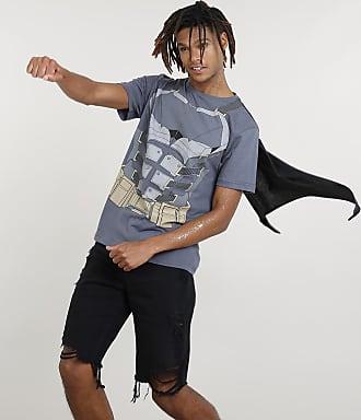 DC Comics Camiseta Masculina Carnaval Batman com Capa Manga Curta Chumbo