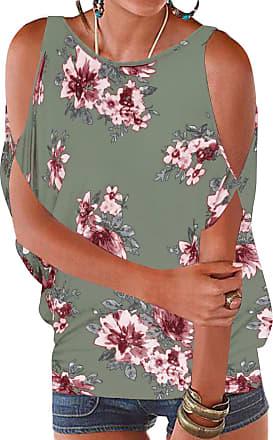 YOINS Womens Cold Shoulder Casual Summer Top Scoop Neck Off Shoulder Lace-up Floral Printed Shirt Blouse