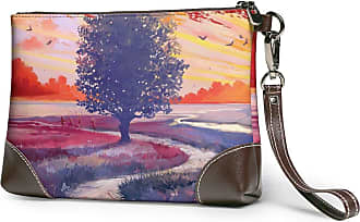 GLGFashion Womens Leather Wristlet Clutch Wallet Tree Painitng Storage Purse With Strap Zipper Pouch