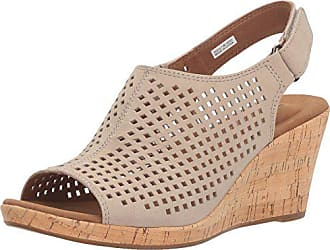 Rockport Womens Briah PERF Sling Wedge Sandal, Taupe Leather, 5.5 W US