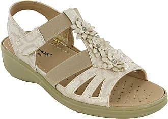 Cushion-Walk Cushion Wal Womens Halterback Wedge Sandals Elasticated Touch Fasten Open Toe UK 3-8 (UK 4 / EU 37, Beige Snake)