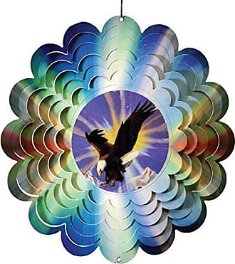 Great World Company StealStreet 610006 12 Flying Eagle with Sun Background Metal Painted Wind Spinner