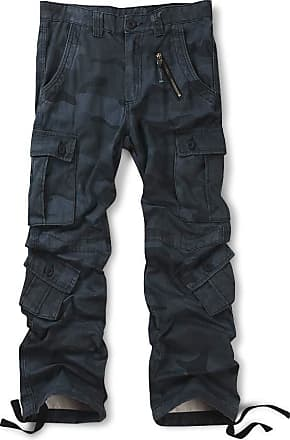 OCHENTA Mens Cotton Casual Military Army Camo Combat Trousers,Wild Cargo Pants with 8 Pockets 3357 Camo Z Blue 30