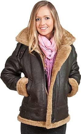 Infinity Womens Brown Hooded Sheepskin Flying Leather Jacket with Cream Fur 3XL