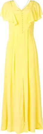 Karl Lagerfeld Vestido longo evasê de seda - Amarelo