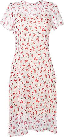 HVN Vestido midi com estampa de cereja - Branco