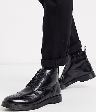Kurt Geiger KG by Kurt Geiger lace up leather chunky boot in black