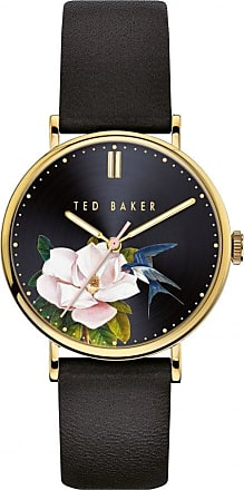 Acotis Limited Ted Baker Watches Black Floral Dial Black Leather Strap Ladies Watch B