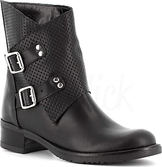 Generico Generic Made in Italy Double Buckle Leather Boot - Black Black Size: 4 UK