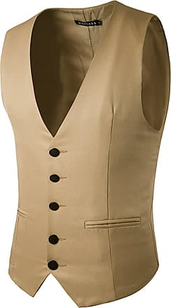 Whatlees Mens Solid Sleeveless Button Down Office Party Wedding Slim Fit Formal Vest with Belt B418-Khaki-XXL
