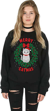 Sanfran Clothing Sanfran - Merry Catmas Top Fashion Christmas Slogan Xmas Meowy Funny Crazy Cat Lady Jumper Sweater - Double Extra Large/Black