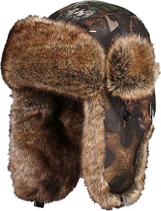Insun Unisex Russian Warm Fur Ski Winter Hunting Trapper Bomber Hat Brown Camouflage XXL Hat Circumference 24.4